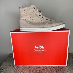 Coach Pita Hightop Suede Cream Sneakers Size 8